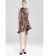 floral patchwork dress, women's, purple, size 4, josie natori