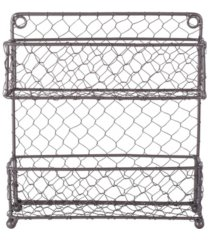 design imports vintage-like 2 tier chicken wire spice rack