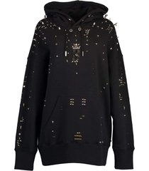 black oversized metallic stud hoodie