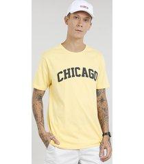 """camiseta masculina """"chicago"""" manga curta gola careca amarela"""