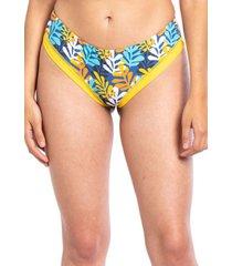 bikini calzón tanga tiro alto estampado amarillo samia