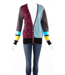 etro multicolor mixed print cardigan sweater multicolor sz: m