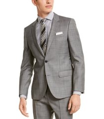 hugo hugo boss men's slim-fit gray windowpane check suit jacket