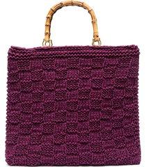 la milanesa bamboo-handle crochet tote - purple