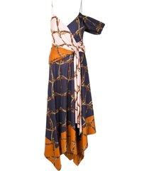 jonathan simkhai asymmetric saddle-print dress - multicolour