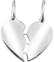 ciondolo cuore you & me in argento 925 rodiato per unisex