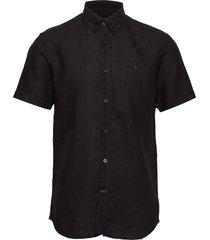 douglas ss linen shirt overhemd met korte mouwen zwart morris