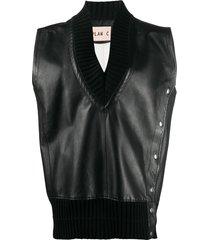 plan c v-neck lambskin knit jacket - black