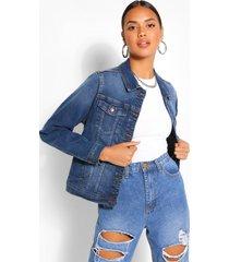 stretch jean jacket, mid blue
