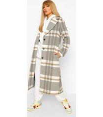 geruite oversized nepwollen jas, grey