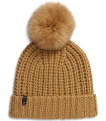 women's mackage cashmere & wool beanie with genuine fox fur pom - beige