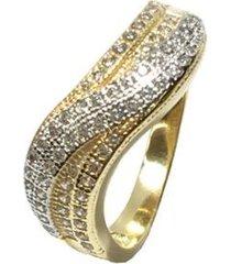 anel kumbayá joias onda trancada semijoia banho de ouro 18k cravacao de zirconias detalhe em rodio