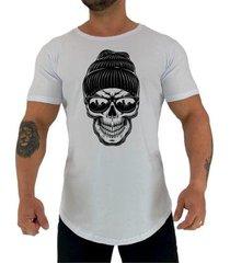 camiseta longline manga curta mxd conceito caveira de gorro masculina