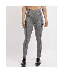 calça legging feminina esporte ace com recortes cinza