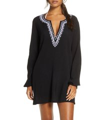 women's la blanca embroidered cover-up tunic, size large - black