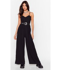 womens a trim trim situation wide-leg jumpsuit - black