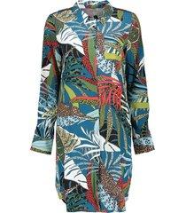 jurk leaves sleeves petrol