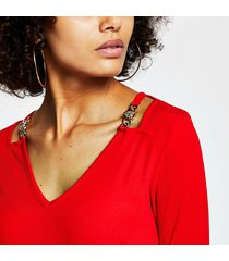 river island womens red gold chain shoulder detail v neck top