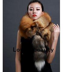 genuine gold fox fur scarf /cape/ collar / wrap grey shawl stole 100-135 cm