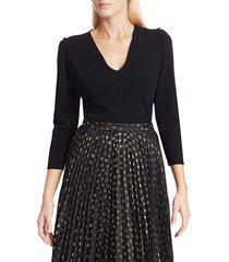 akris punto women's mini ruffle puff-sleeve knit sweater - black - size 14