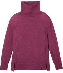 gebreide pullover van zuivere bio-wol en brede rolkraag, azalea 44