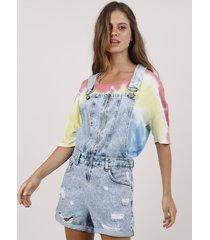jardineira jeans feminina blueman destroyed azul claro