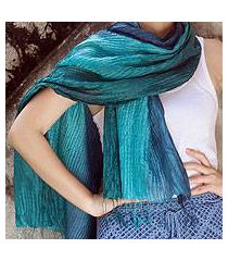 pin tuck scarf, 'aqua turquoise transition' (thailand)