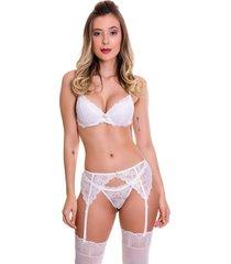 conjunto estilo sedutor calcinha e suti㣠com cinta liga e meia branca - vc3245 - branco - feminino - dafiti