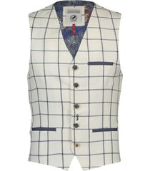 a fish named fred 20.01.147 gilet off white check - ecru