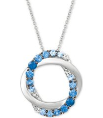 "le vian blueberry layer cake blueberry sapphires (1 ct. t.w.) & vanilla sapphires (1/10 ct. t.w.) 20"" pendant necklace in 14k white gold"