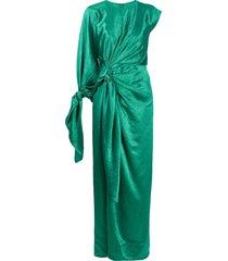 sies marjan draped crinkle-satin dress - green