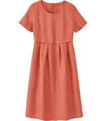 linnen jurk in empirelijn, kastanje 42