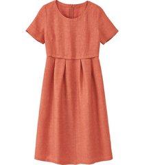 linnen jurk in empirelijn, kastanje 38