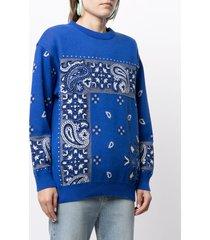 coohem bandana-jacquard knitted jumper - blue