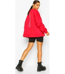 premium oversized back print sweater, red
