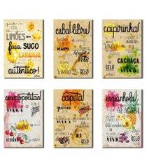 kit 6 placas decorativas receitas de bebidas