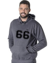moletom blusão flanelado suffix fechado liso com capuz bolso canguru cinza escuro chumbo estampa 66