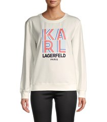 karl lagerfeld paris women's graphic logo cotton-blend sweatshirt - soft white - size m