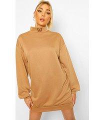 geborduurde sweatshirt jurk met hoge kraag en vlinder, camel