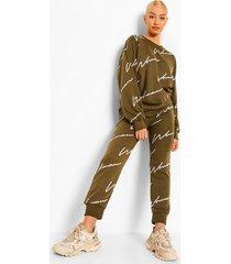 woman signature trainingspak met sweater, khaki