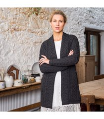 the oranmore aran coat charcoal l