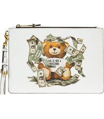 moschino dollar teddy bear clutch bag