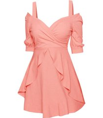cold shoulder surplice overlay skater dress