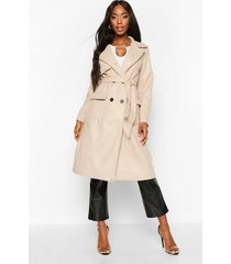 double breasted trench wool look coat, stone