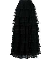 red valentino tulle tiered skirt - black
