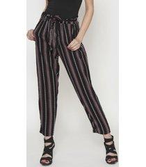 pantalon con tira estampado rayas negro 609 seisceronueve