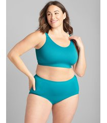 lane bryant women's level 1 smoother full brief panty - ribbed sides 22/24 pagoda blue