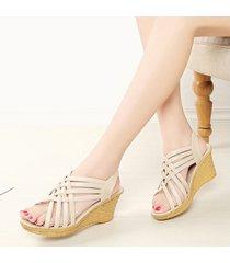 sandalias casuales madre zapatos verano mujer pendiente con grueso