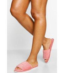 pluizige slippers, poederroze