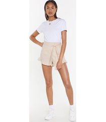 womens end game ruffle linen shorts - natural